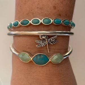 NWT Lucky Brand Silver Turquoise Bangle Bracelets